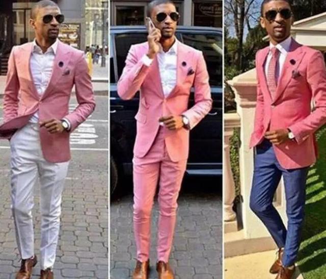 79821577515f Скромные Дешевые мужской костюм розовый One Button Жених Костюмы мужские  жениха Slim Fit Best Man Пром