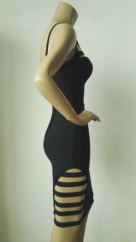 Gros Sangle 2016 En Nouvelle D'été Noir Sexy Rayonne Cou Bleu Évider Arrivée Bandage Robes V Robe Dropshipping Femmes rqrHaY