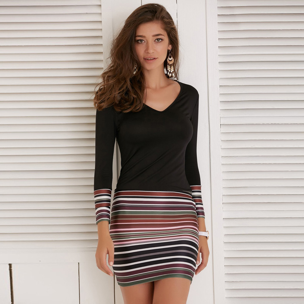 <font><b>Women</b></font> Patchwork Striped <font><b>Dress</b></font> <font><b>Sexy</b></font> Slim Party <font><b>Dress</b></font> <font><b>Women</b></font> <font><b>Mini</b></font> Bodycsses Casual Plus Size Long Sleeve V-neck Short <font><b>Dress</b></font> Vestid image