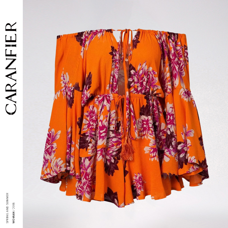 CARANFIER Bohemian Summer Sexy Playsuit Women Slash Neck Floral Print Lace Up Tassel Jumpsuit Long Flare Sleeve Bodysuit LA265
