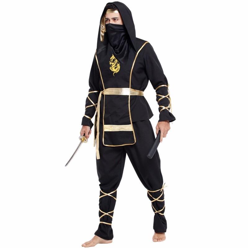 Purim Adult Men's Japanese Ninja Costume Cosplay Party Masquerade Movie Black Dress Clothes Role Hokkaido samurai suit