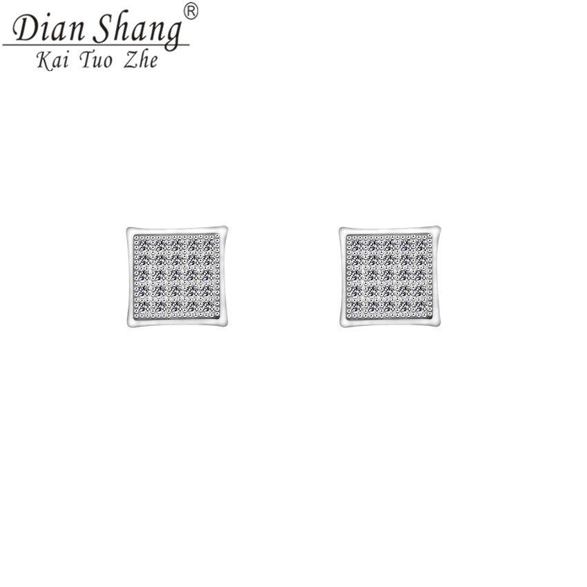DIANSHANGKAITUOZHE Minimalist Geometry Square Stud Earrings Shining Jewel Embedded CZ Party Jewelry Conspicuous Earrings Women
