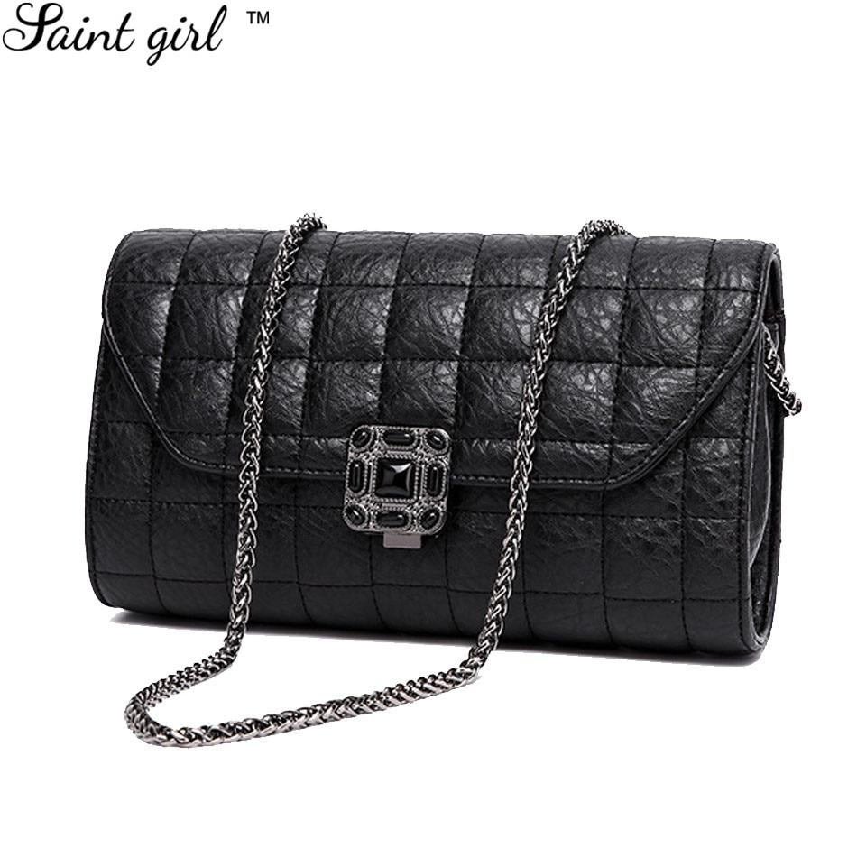 Saint Girl PU Leather Diamond Lattice Chain Shoulder & Crossbody Bag Ladies Vintage Lock Women Messenger Bag Bolsos Mujer SNS152 рюкзак girl pu yt00172334