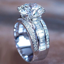 купить USTAR 10mm Round Cubic Zirconia Wedding Rings for women Fashion jewelry White Gold Color Promise Engagement Rings Female Anel дешево