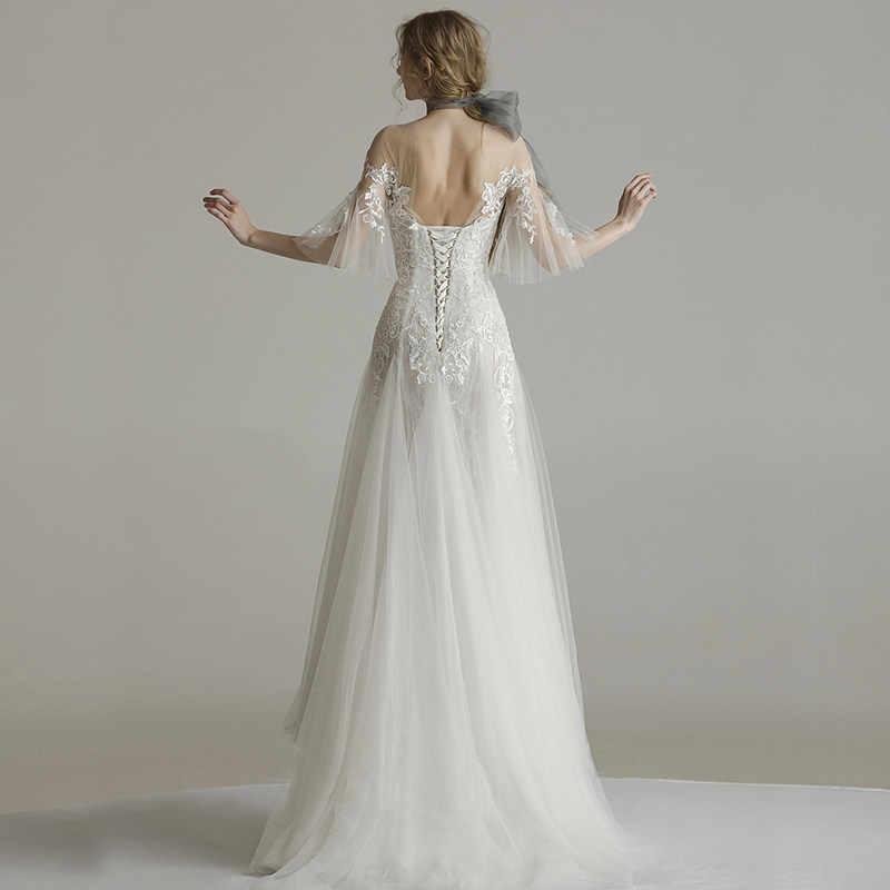 c725386f85b ... Элегантные свадебные платья 2019 кружева иллюзия аппликации платье  свадебное платье с юбкой-годе оболочка Vestido ...