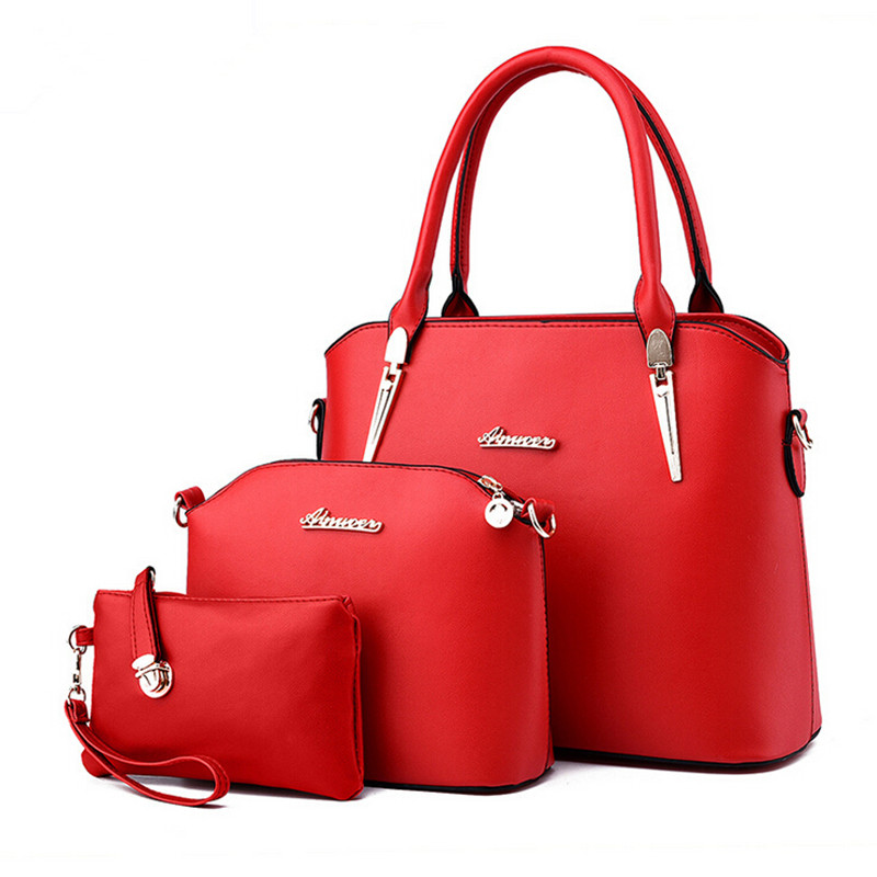 2017 New Brand Designer Women Handbag High Quality Pu Leather Composite Bag Female Shoulder Bags ,Handbag + Clutch +Wallet / Set