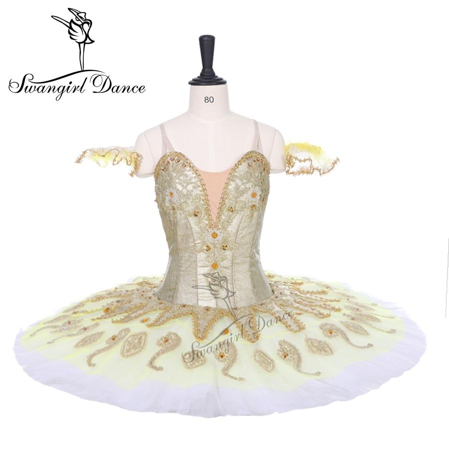 Ultime oro platter tutu per competiton ragazze sleeping beauty tutu di balletto classico tutu di balletto professionale pancake BT9134B