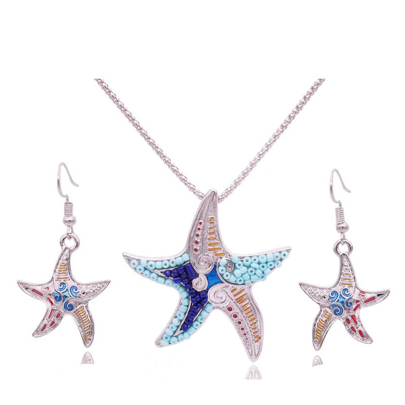 Mieehoo 100 store Newest European and American fashion mischievous starfish necklace earrings set Bohemian necklace earring set