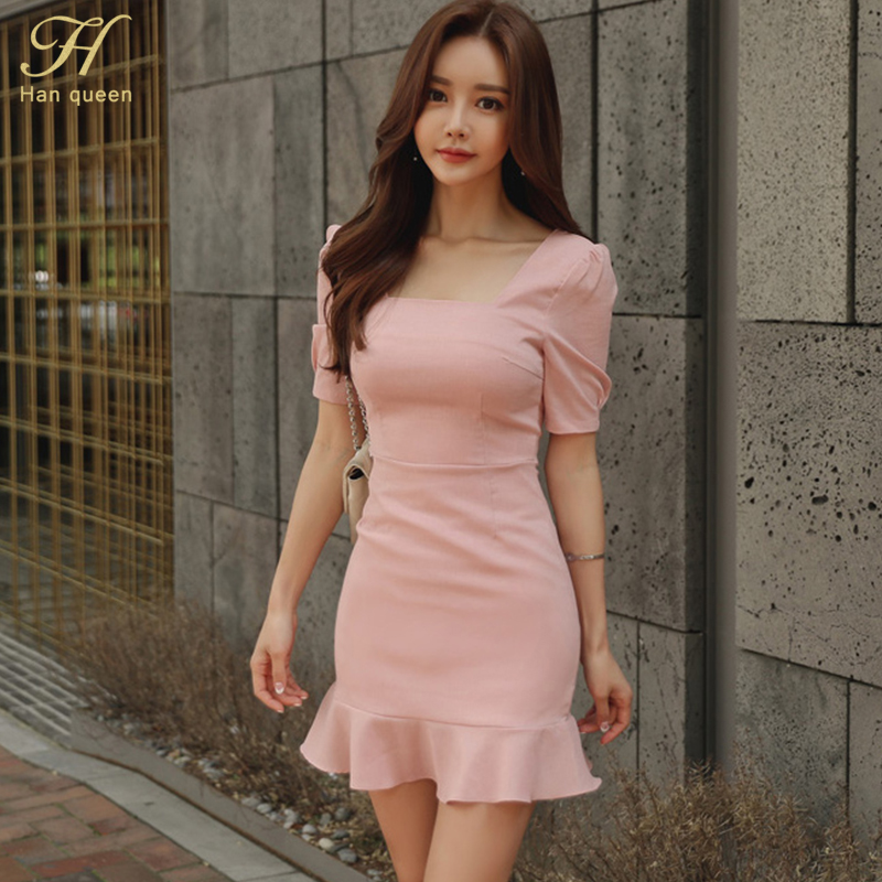H Han Queen Womens Sexy Summer Mini Mermaid/Trumpet Dress Puff Sleeve Bodycon Party Club Casual Fitted Ol Vestidos Drop Shipping by H Han Queen
