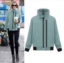 Hot sell European latest spring elegant ladies fashion big yards loose coat stand collar and show thin wool coat G1271