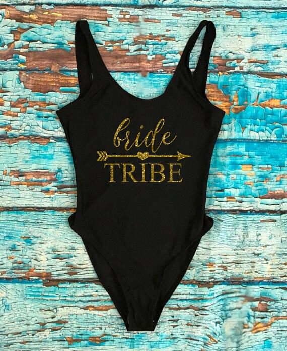 Okoufen Badpak Een Stuk Bruid Stam Goud Beachwear Brief Print Badmode Sexy Been Backless Hoge Taille Vrouw Meisje Mode Tops