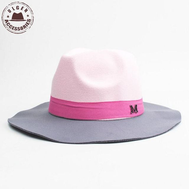 Fashion winter womens M letter wool felt fedora hat pink hat for women  ladies large brim cowboy panama fedoras Jazz hat d4ba92a47d6a