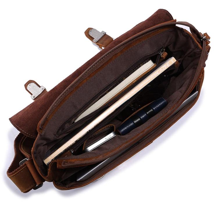 J.M.D 100% Genuine Crazy Horse Leather Men's Brown Messenger Bag Classic Cross Body Vintage And Durable Shoulder Bag 6002B-1
