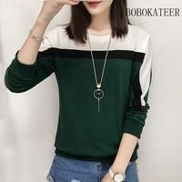BOBOKATEER Cotton Plus Size Loose O Neck White Black Gray Long Sleeve Top T Shirt Tshirt