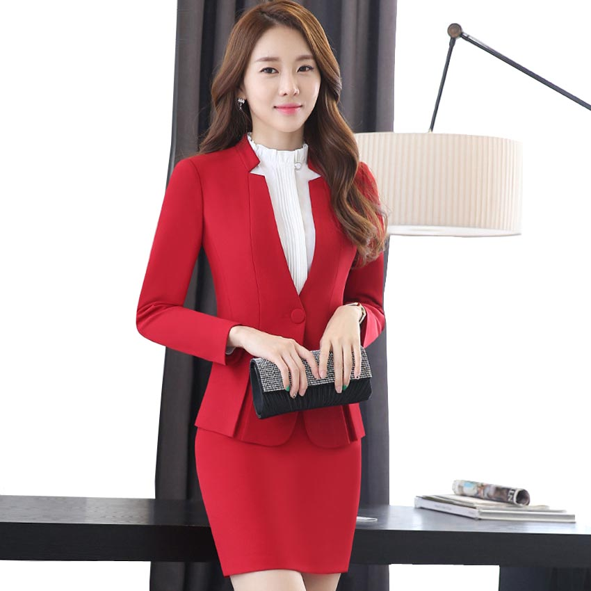 3pc Office Skinny Business Brand Formal Women Suits Sets Cotton Red