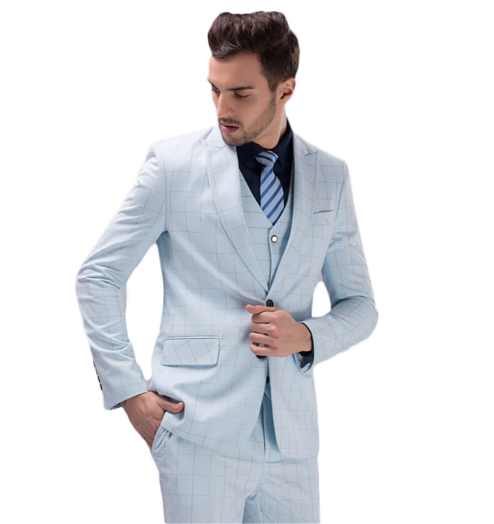 2016 Cheap White and Blue Groom Tuxedos Groomsmen Custom Made Slim ...