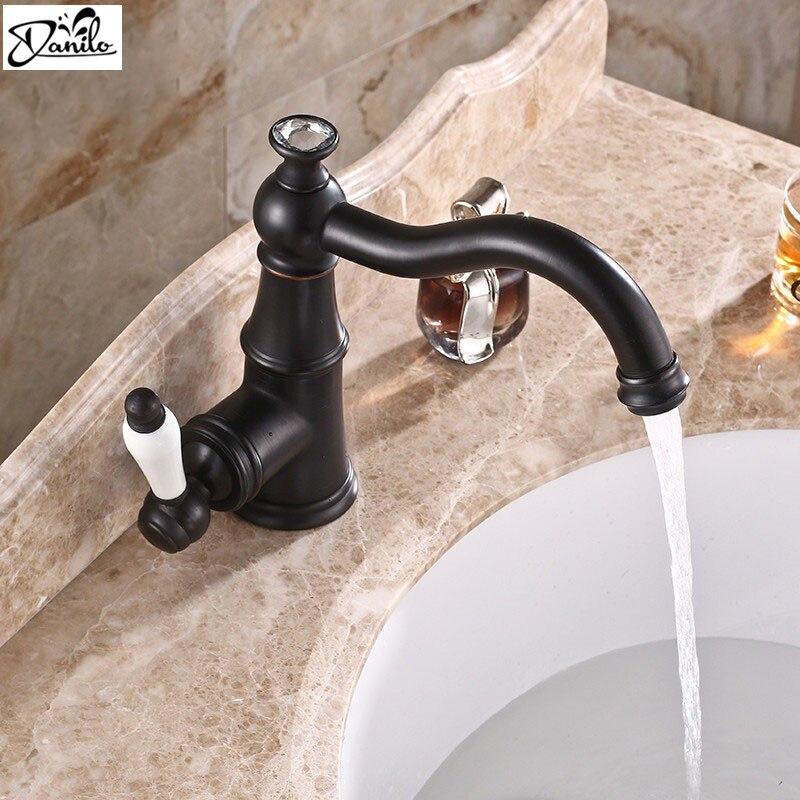 Bathroom Faucet Brass Paint Black Faucets Ceramic Single Handle Tap ...
