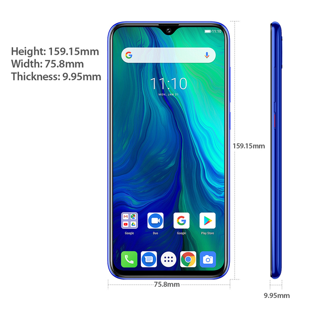 Ulefone power 6 Smartphone Android 9.0 Helio P35 Octa-core 6350mah 6.3″ 4GB 64 GB 16MP face ID NFC 4G LTE Global Mobile Phones