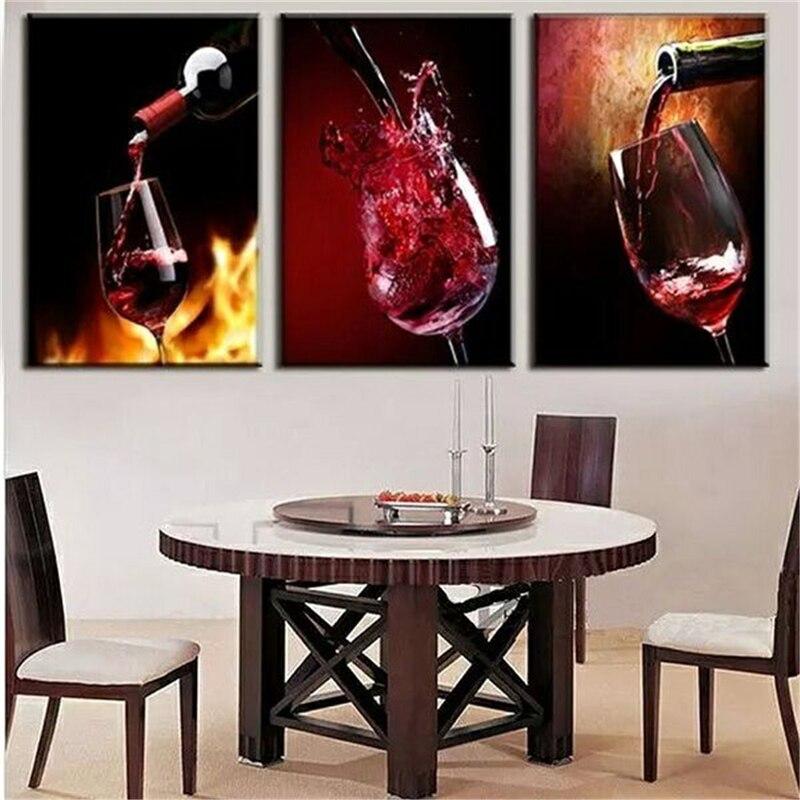€7.05 8% de réduction 3 pièces sans cadre moderne cuisine toile peintures  rouge vin tasse bouteille mur Art peinture à l\'huile Bar salle à manger ...