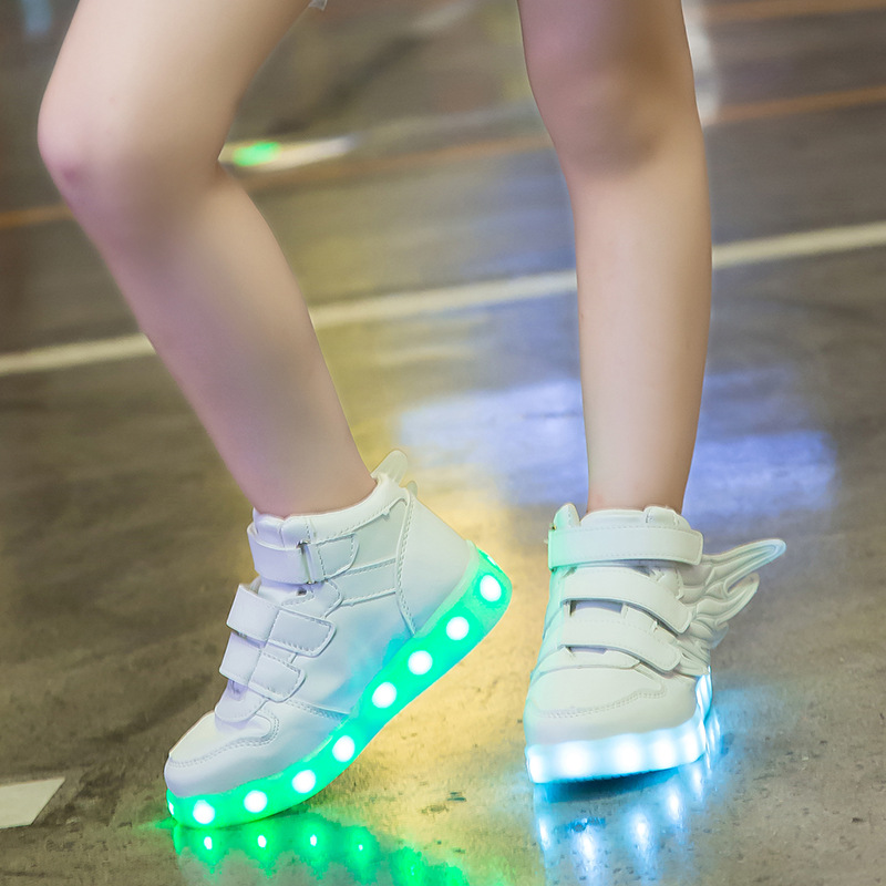UncleJerry Kids Light up Shoes with wing Children Led Shoes Boys Girls Glowing Luminous Sneakers USB Charging Boy Fashion Shoes joyyou brand usb charging teenage led kids shoes boys girls luminous sneakers with light up led tenis infantil school footwear
