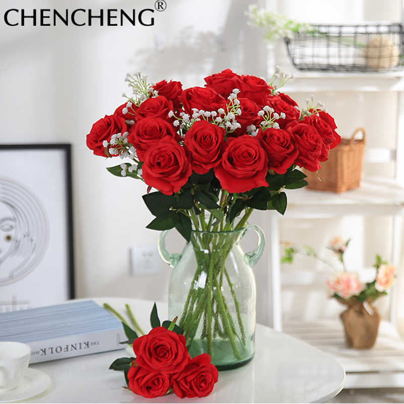 48 Cm Länge 11 Stücke Rot Lila Künstliche Rose Blume Hochzeit Dekoration Valentinstag Geschenk Chencheng Künstliche Und Getrocknete Blumen Künstliche Dekorationen