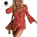 Boho Sexy Кружева Глубокий V Шеи Красный Цветочный Печати Женщины Комбинезоны Элегантный Лето 2016 Спинки Комбинезон Короткие Комбинезоны Комбинезон