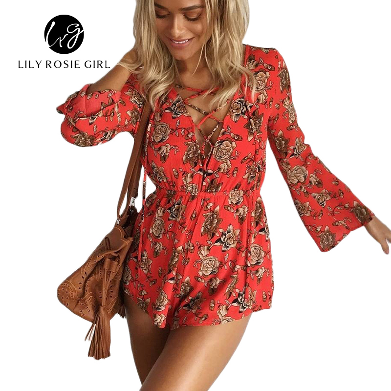 Boho Sexy Lace Up Deep V Neck Red Floral Print Women Playsuits Elegant Summer 2016 Backless