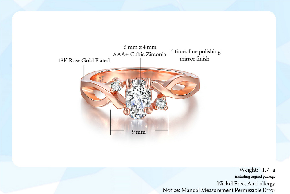 Fashion Spiral Rose Gold Women Rings For Anniversary Inlaid With Oval Shiny Cubic Zirconia Jewelry Wholesalae DWR785