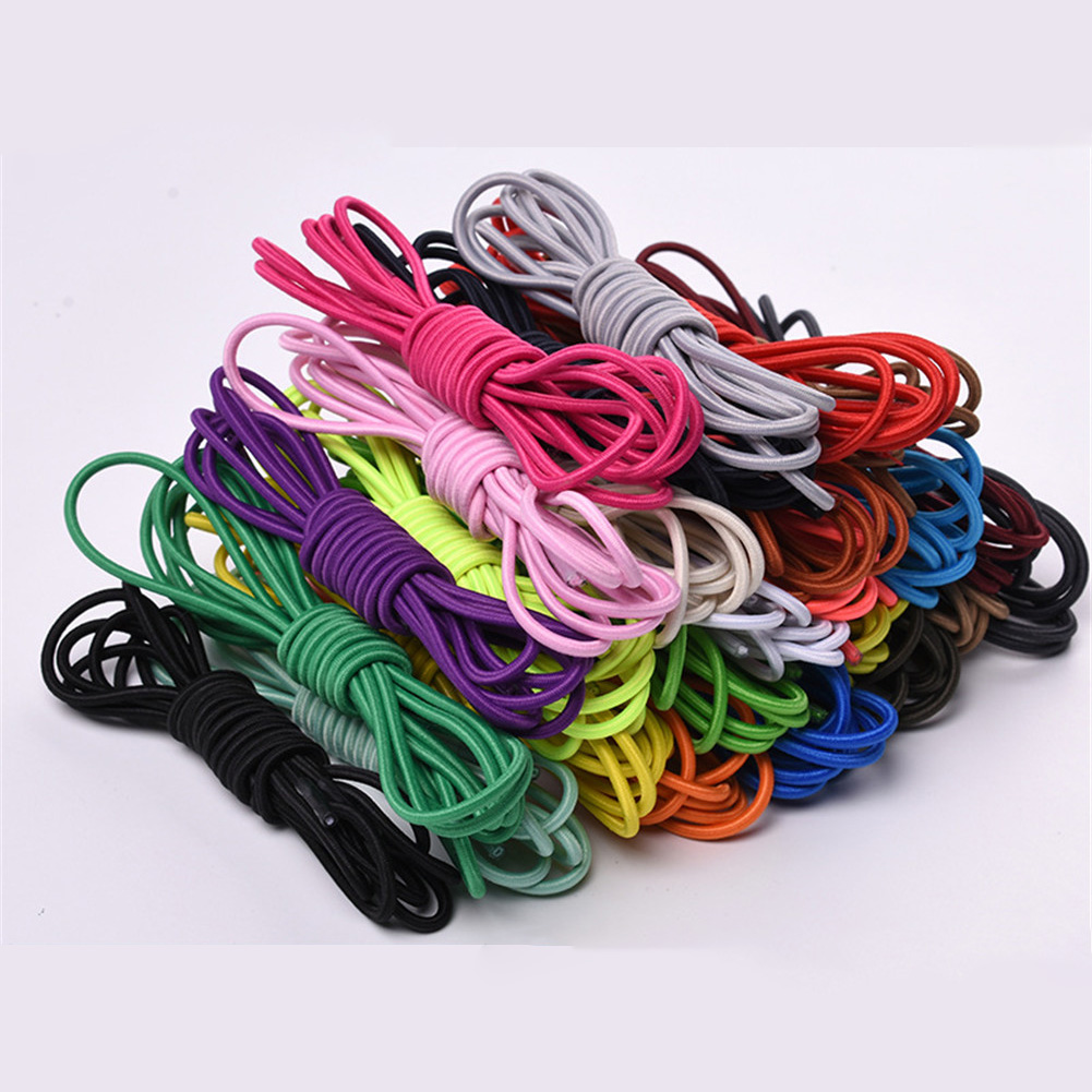 1 Pair Candy Color Round Stretch Shoelaces Multicolor Elastic Band High Elasticity 105cm Outdoor Sports Shoe Laces Strings