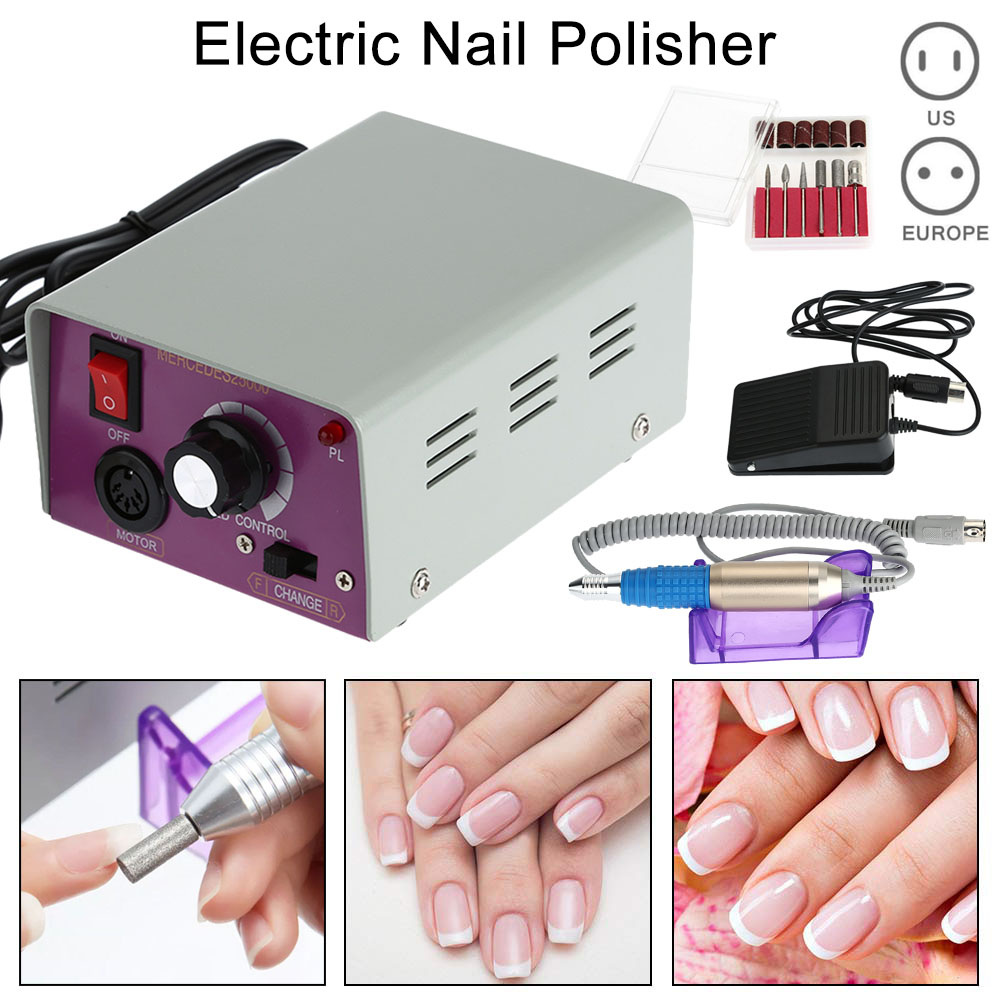 цены Electric Manicure Drills Nail Polisher Nail Art Machine Kit 25000 RPM Drills Bits File Manicure Pedicure Grinding Tool Set
