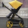 Alta vista absorvedores de choque carrinho de bebê de carro do bebê de quatro rodas luz carrinho de bebê