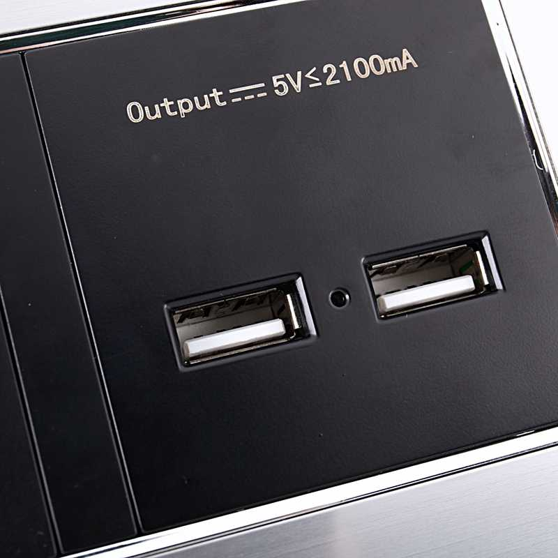 Wall Socket Eu Standard Power Outlet With Dual Usb Charge Port For Mobile 5V 2.1A Stainless Steel Panel