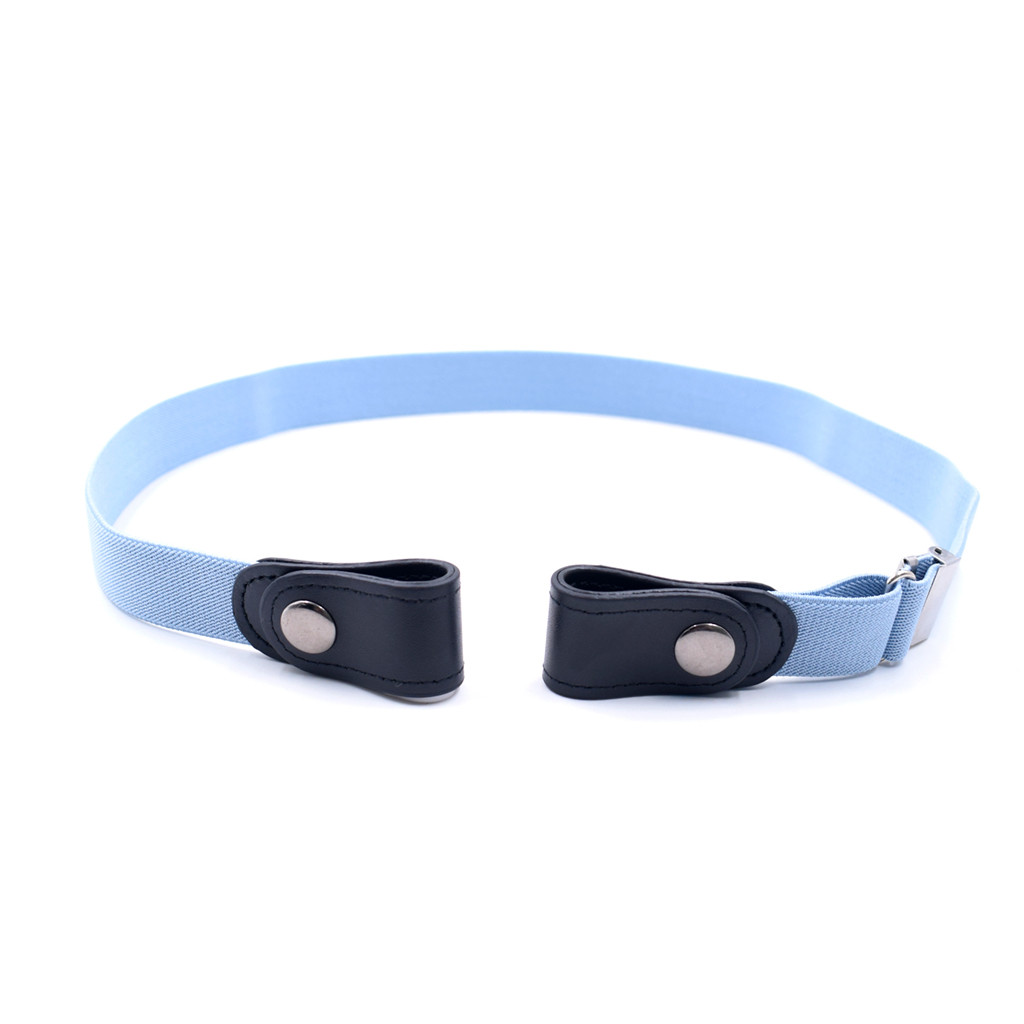 Pu Leather Belt Without Buckle Elastic Invisible Elastic Belt Women /men Children Jeans High Quality Belts No Raised Trouble