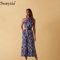 Svoryxiu 2019 High Quality Cotton Jumpsuits Women's Sexy Off Shoulder Round Neck Flower Print Designer Jumpsuits