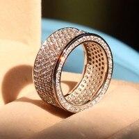 New Jewelry Women Full Round cut 320pcs Stone 5A Zircon Birthstone 10KT White Gold Filled Engagement Wedding Band Ring Sz 5 11