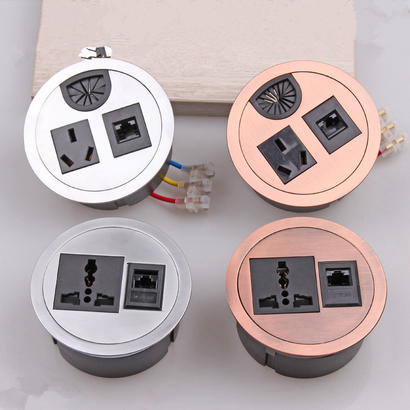 New desktop socket outlet Computer Table Wire Hole Cover table cable grommet Pop up Outlets Three Inserts Power outlet