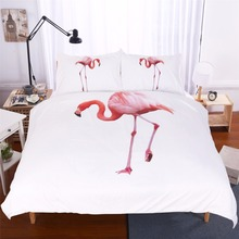 BeddingOutlet Pink Flamingo White Duvet Cover Set Animal Printed Bird Bedding Set King Cute Girls Bed Cover 3 Pieces Bedspread