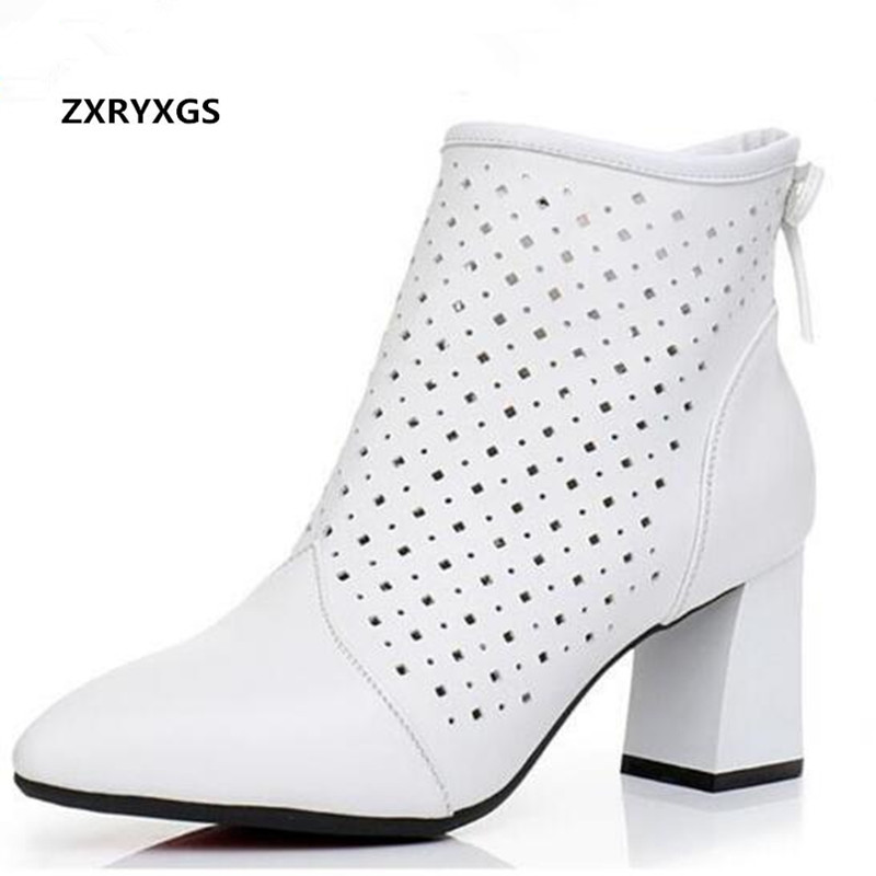 2019 New Spring Ankle Boots Genuine Leather Shoes Thick with High Heels Hollow Women s Boots