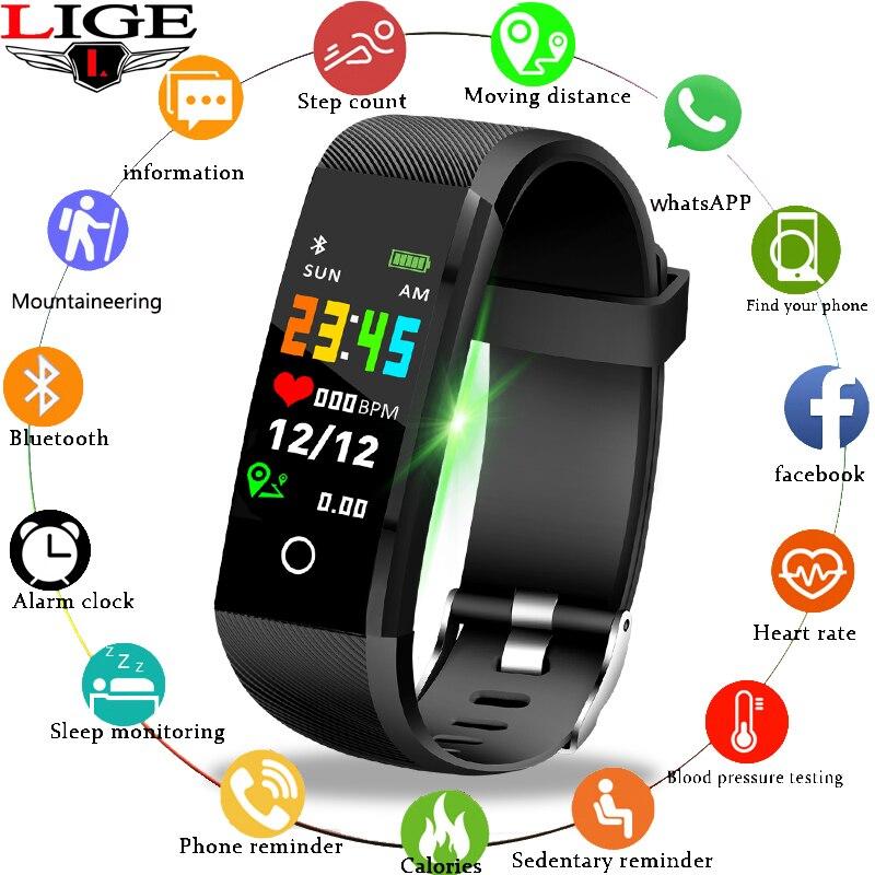 LIGE 2019 nouveau Bracelet intelligent de Sport de traqueur de forme physique IP67 montre étanche podomètre de fréquence cardiaque Bracelet intelligent pour Android ios