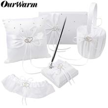 OurWarm White Satin Wedding Ring Bearer Pillow Flower Basket Guest Book Pen Holder Garter Communion Baptism Decoration