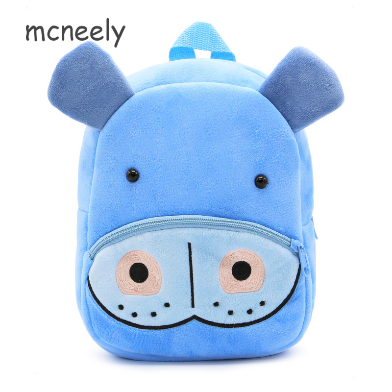 Lovely Plush Backpack Children Hippo Cartoon Kid School Bags for Baby Girls Boys Kindergarten Kids Backpacks цена