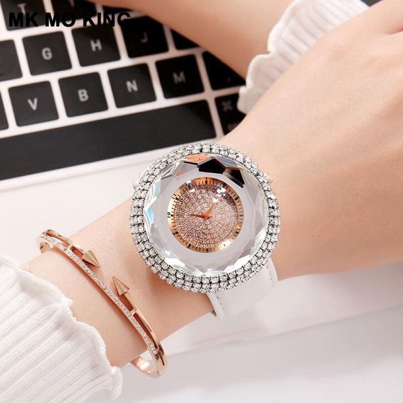 Luxury Brand Women's Large Dial Rhinestone Clock Ladies Casual Leather Quartz Watch Bracelet Clock Dw Mk Montre Femme Relojes