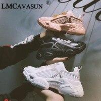LMCAVASUN New Fashion Women Shoes Ladies Casual Shoes High Platform Female Sport Black White Sneakers