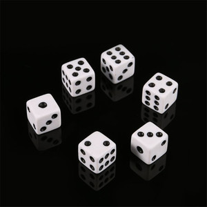 100Pcs Mini Small D6 White Dice 8mm 10mm 12mm With Square Angle Color Black Point Dices For Board Games Accessory