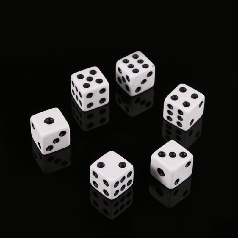 100Pcs Mini Small D6 White Dice 8mm 10mm With Square Angle Color Black Point Dices For Board Games Accessory