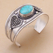 Retro tibet silver heart love bling inlay green stone howlite bead cuff bracelet Vintage style Adjustable Party Gift   &6YB00007