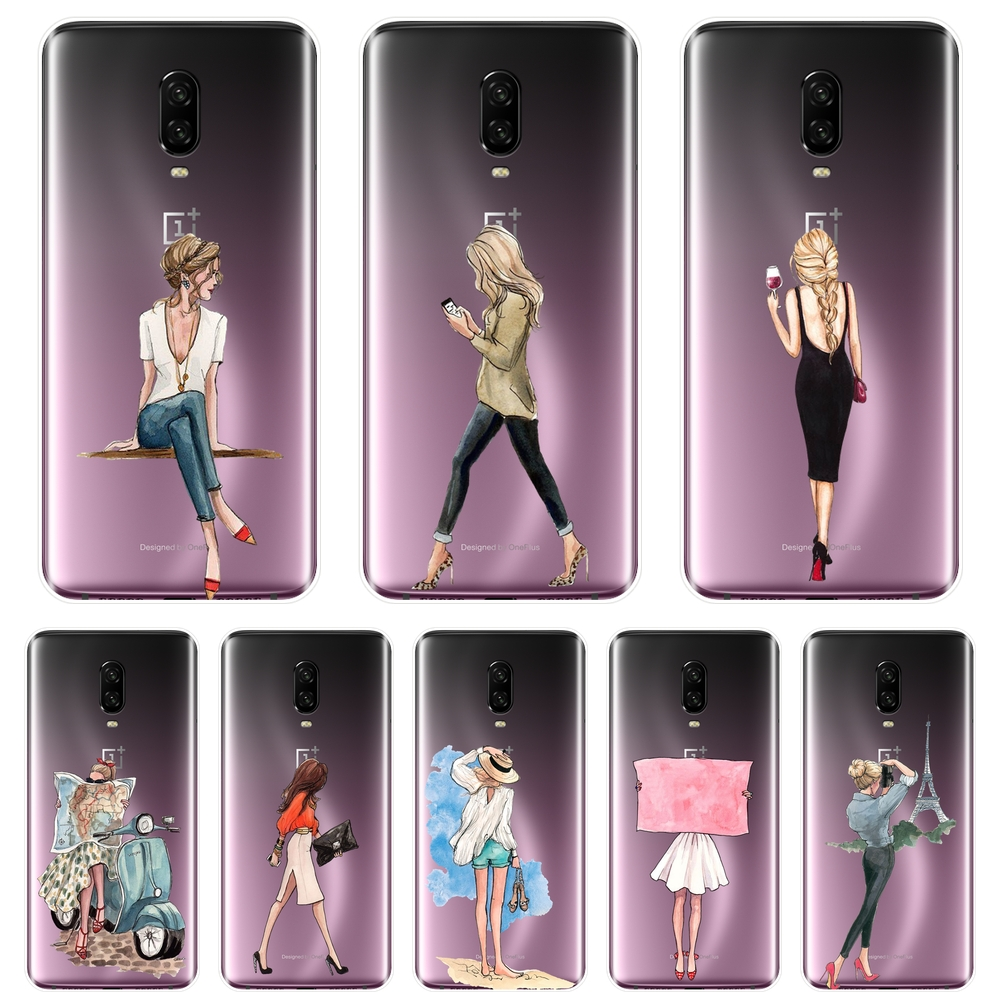 TPU Silicone Phone <font><b>Case</b></font> For <font><b>One</b></font> <font><b>Plus</b></font> 3 <font><b>3T</b></font> 5 5T 6 6T Black Girl Travel Women Aesthetic Soft Back Cover For OnePlus 3 <font><b>3T</b></font> 5 5T 6 6T image