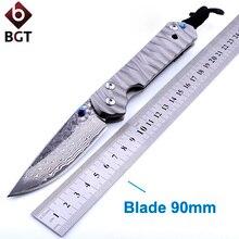 BGT Hunting Tactical Folding Knife Damascus Blade Titanium Handle Pocket Survival Combat Knives Camping EDC Tools Sebenza