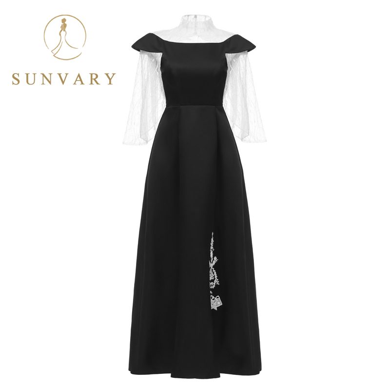Sunvary Customized High Collar Black And White Celebrity Dress Long Sleeve Beaded Red Carpet Dress Illusion V-Back Party Gown