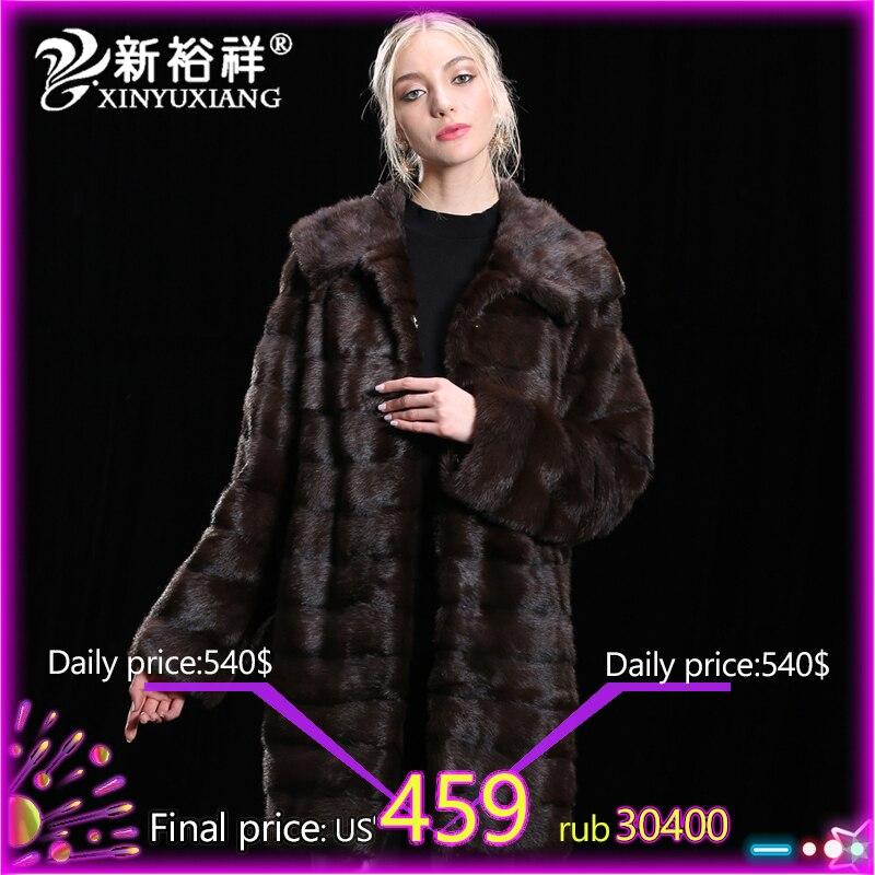 2018 de luxe 100% Réel De Fourrure De Vison manteau Femmes Hiver Véritable Vêtements En Cuir long et Épais chaud Naturel réel De Fourrure Vestes Personnaliser 19NO